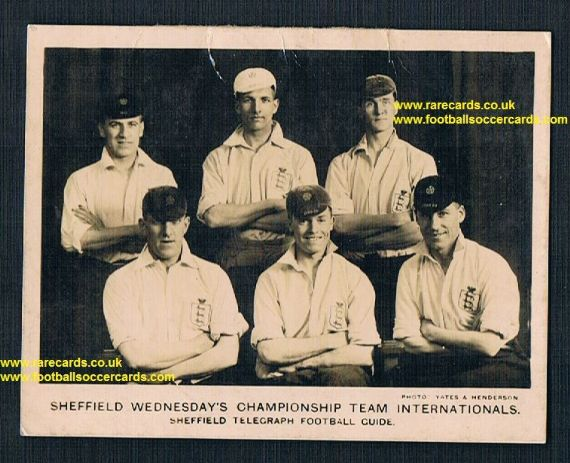 1926 Sheffield Wednesday Telegraph Internationals Yates Henderson Rimmer Seed Blenkinsopp card